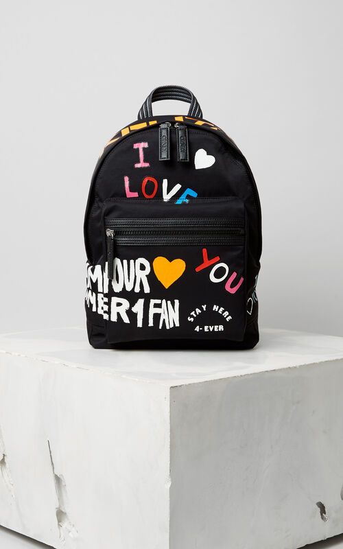 I Love You  Backpack, BLACK, KENZO