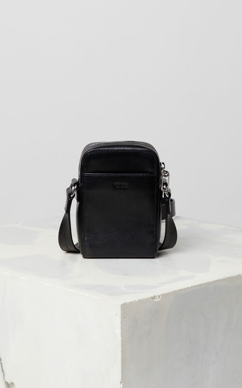 BLACK Small cross-body KENZO Logo leather bag for unisex