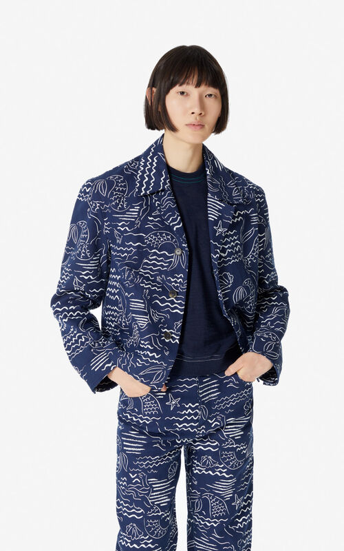 MIDNIGHT BLUE 'Waves Mermaids' denim jacket for men KENZO