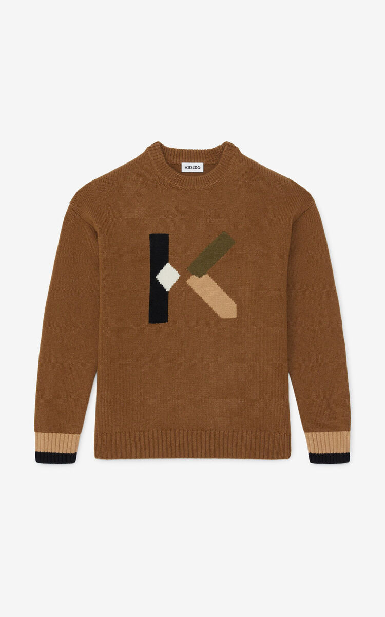 DARK CAMEL K Logo jumper for women KENZO