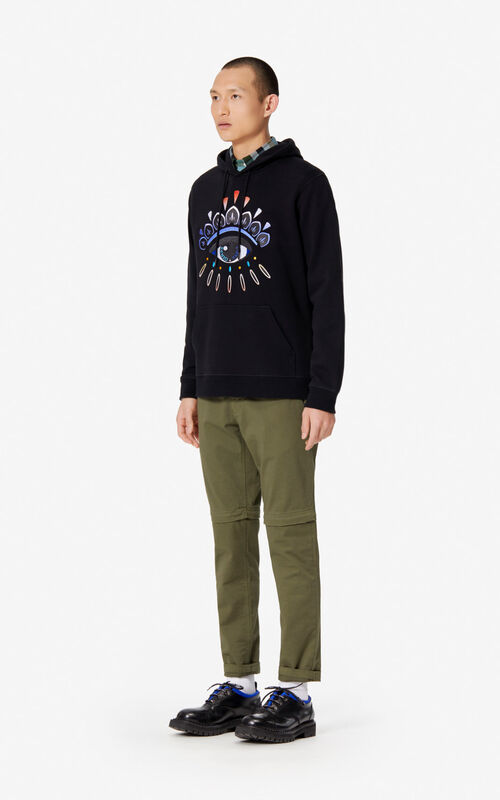 BLACK Gradient Eye hoodie for men KENZO