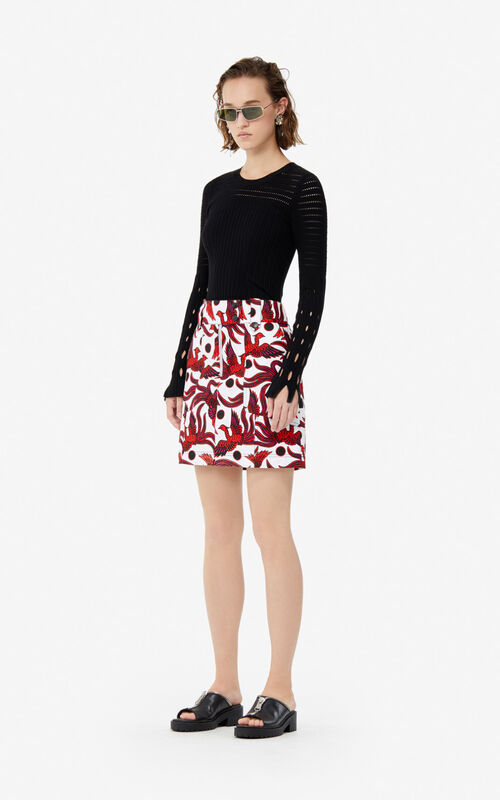MEDIUM RED 'Flying Phoenix' mini skirt for women KENZO