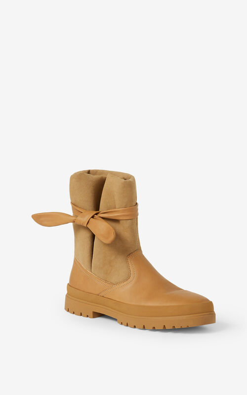 BEIGE KENZO Safari Obi ankle boots for unisex