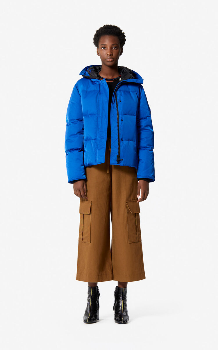 FRENCH BLUE Hooded quilted down jacket for women KENZO