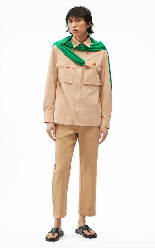 BEIGE Tiger Crest overshirt for men KENZO