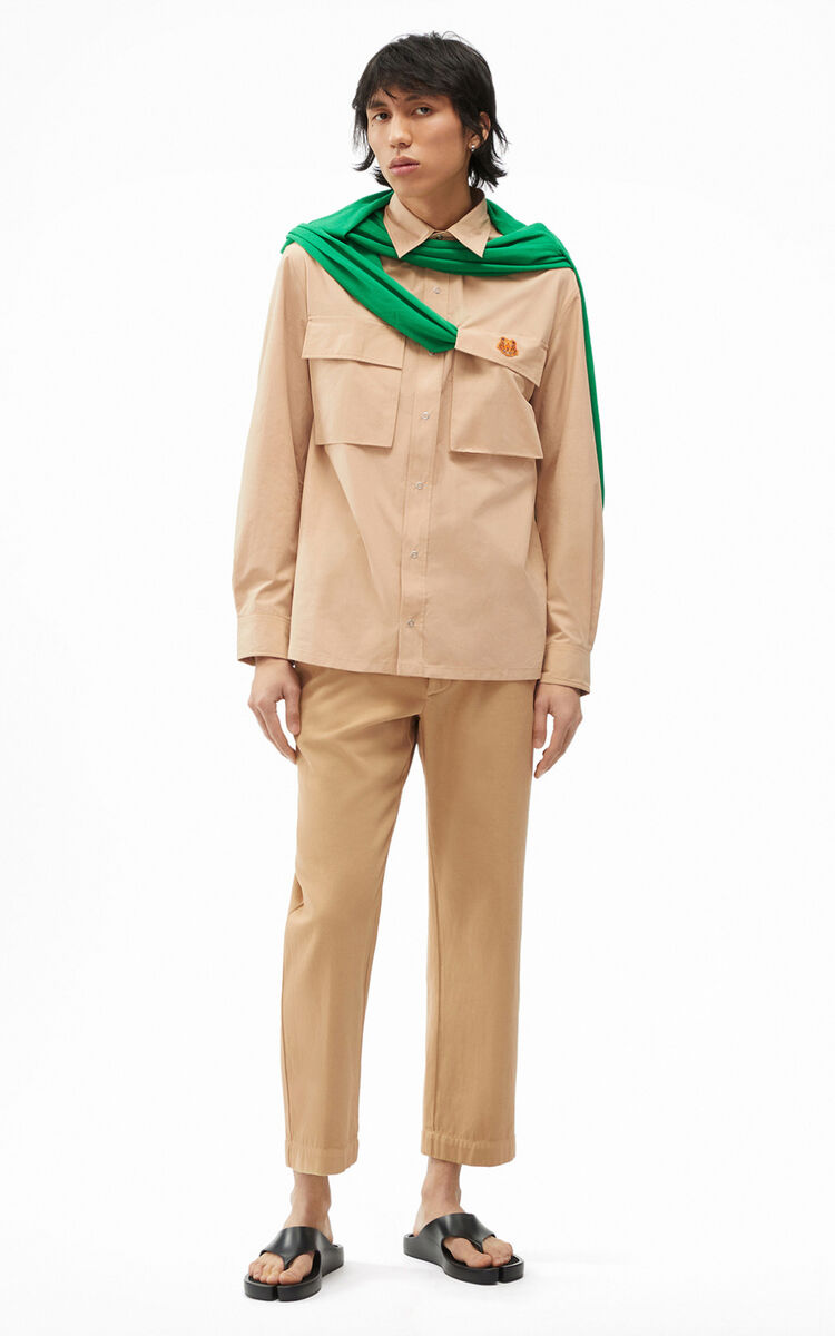 BEIGE Tiger Crest overshirt for women KENZO