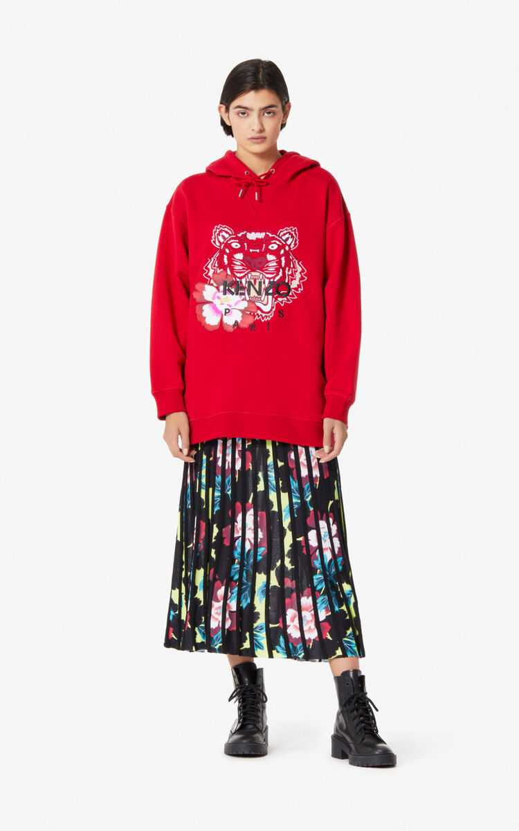 MEDIUM RED 'Indonesian Flower' Tiger hoodie for women KENZO