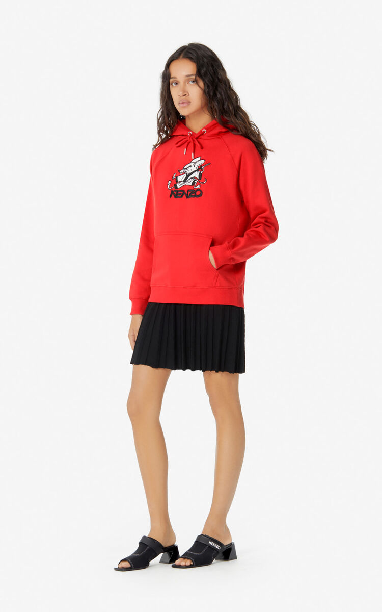 MEDIUM RED 'Kung Fu Rat' hoodie sweatshirt for women KENZO