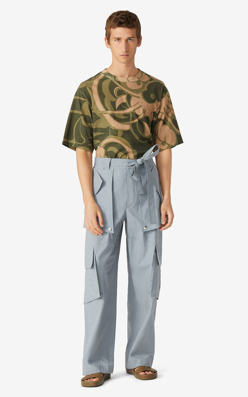 PEARL GREY Wide cargo trousers for men KENZO