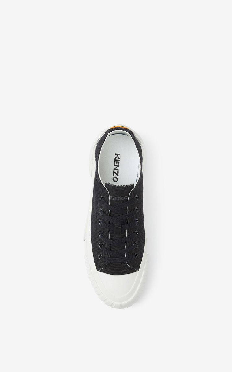 BLACK Canvas Tiger Crest trainers for unisex KENZO