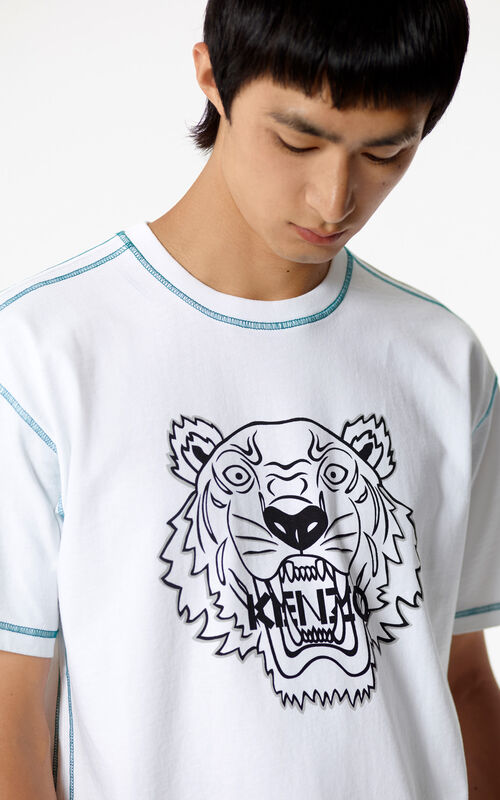 WHITE Tiger T-shirt with topstitching for men KENZO