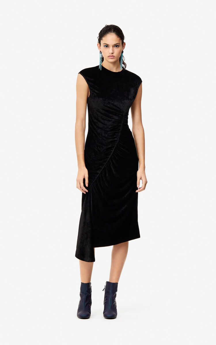 BLACK Frilled velvet dress for women KENZO