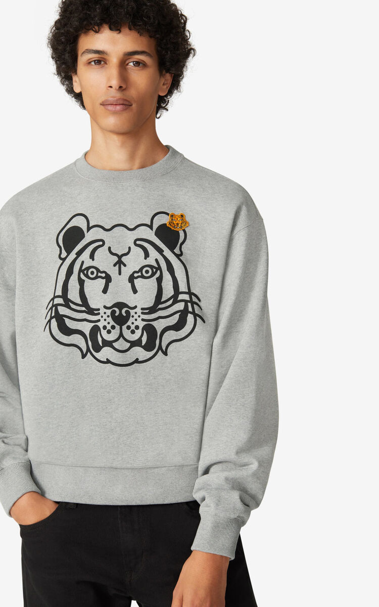 PEARL GREY K-Tiger sweatshirt for women KENZO