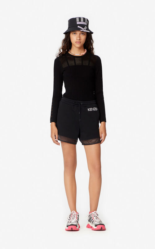 BLACK Dual-material shorts for women KENZO