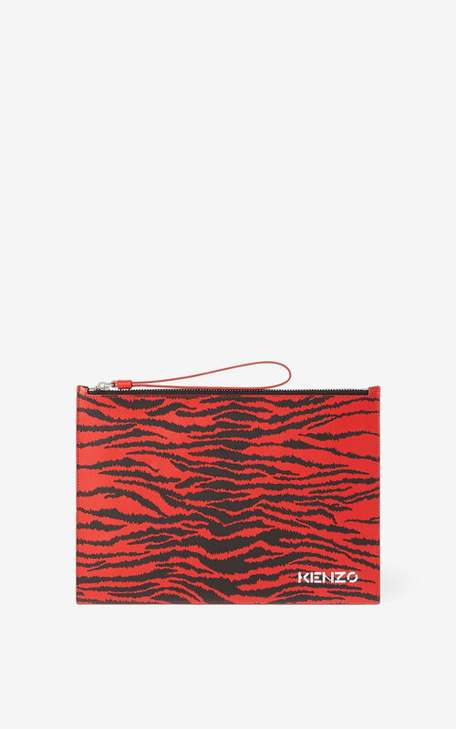 MEDIUM RED Leather clutch for unisex KENZO