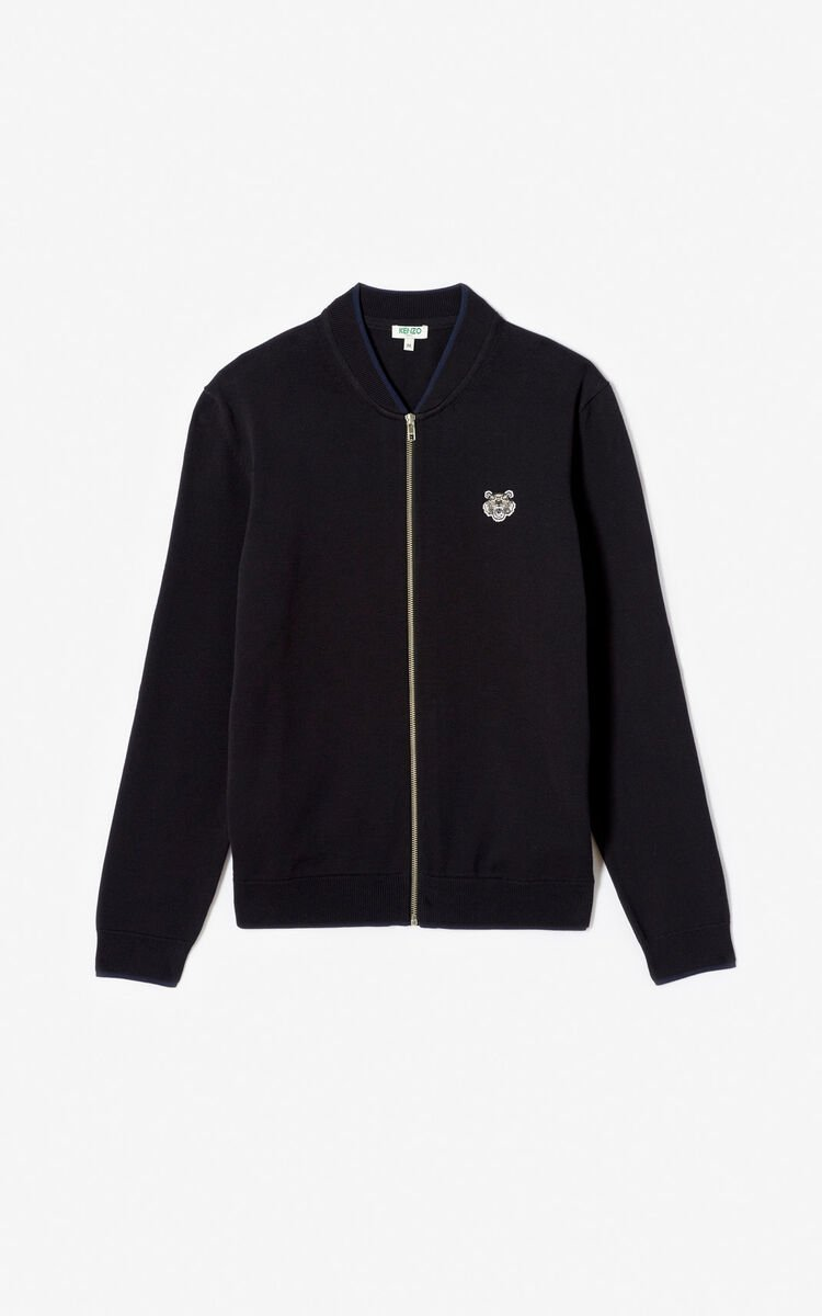 BLACK Tiger zipped cardigan for men KENZO