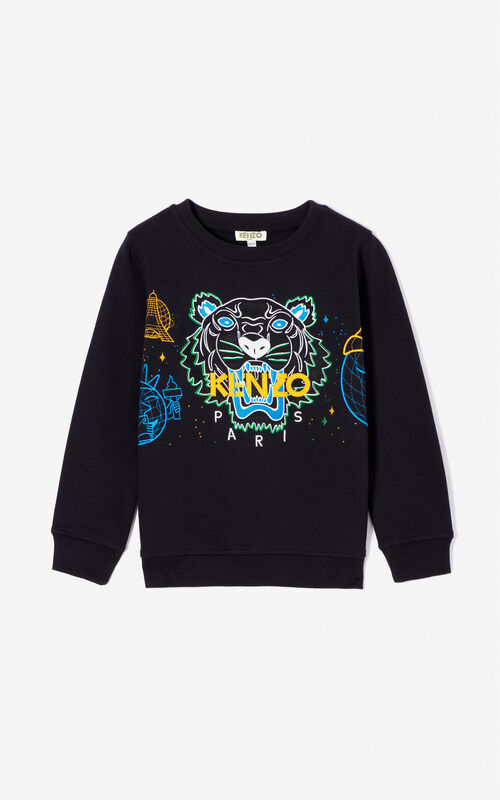 BLACK 'Cosmic' Tiger sweatshirt for women KENZO