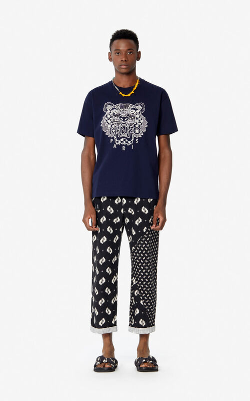 MIDNIGHT BLUE 'Ikat' Tiger t-shirt for men KENZO