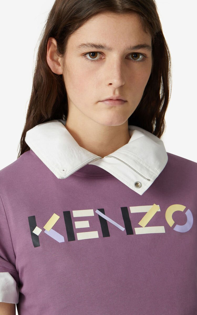 BLACKCURRANT KENZO t-shirt with multicoloured logo for men