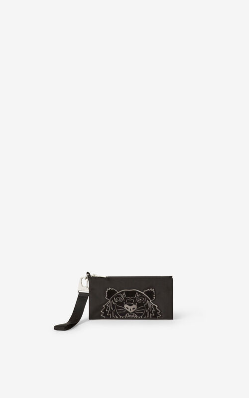 BLACK Kampus Tiger canvas wallet for men KENZO