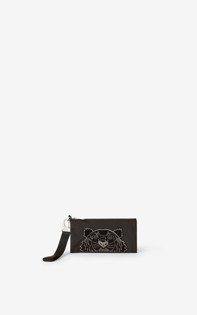 BLACK Kampus Tiger canvas wallet for women KENZO