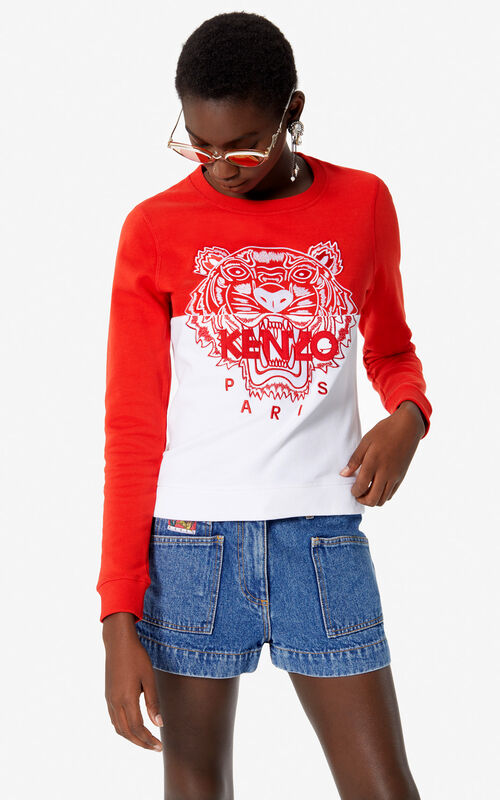 MEDIUM RED 'Colorblock Tiger' sweatshirt for women KENZO