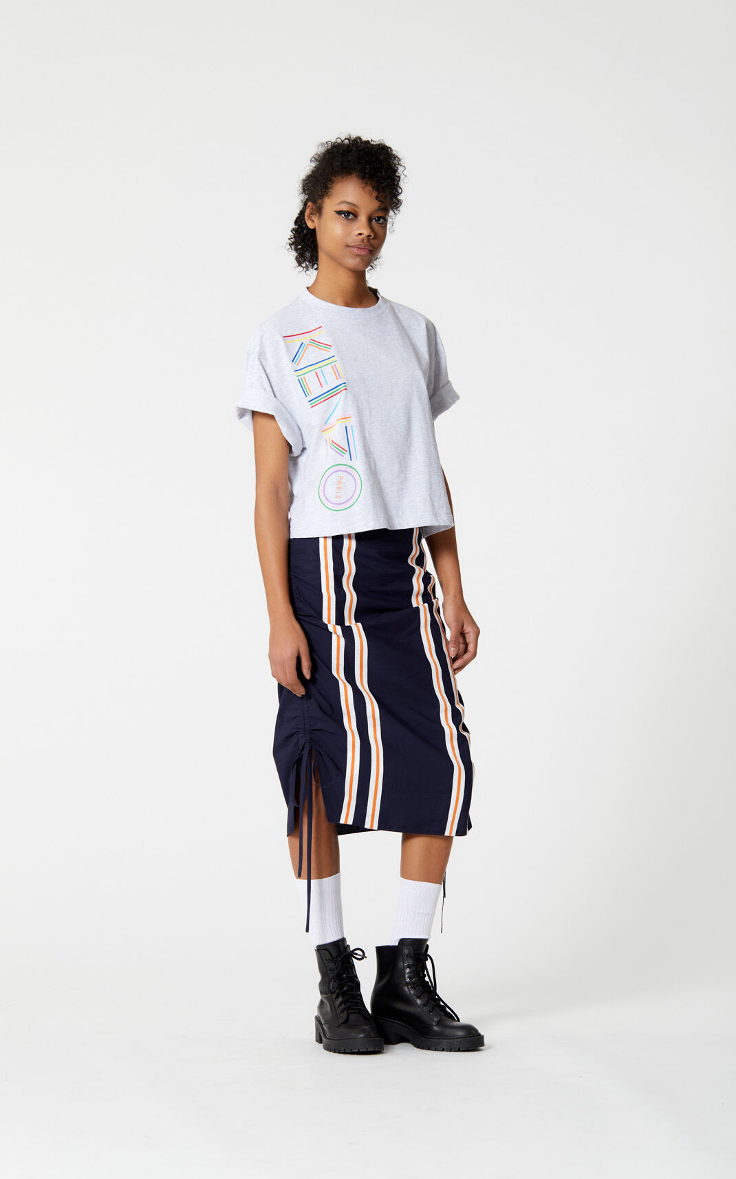 PALE GREY 'High Summer Capsule Collection' boxy t-shirt with Kenzo logo for women