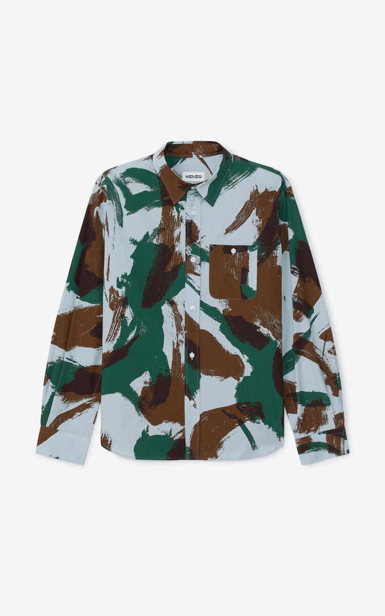 BOTTLE GREEN 'Brushed Camo' casual shirt for men KENZO