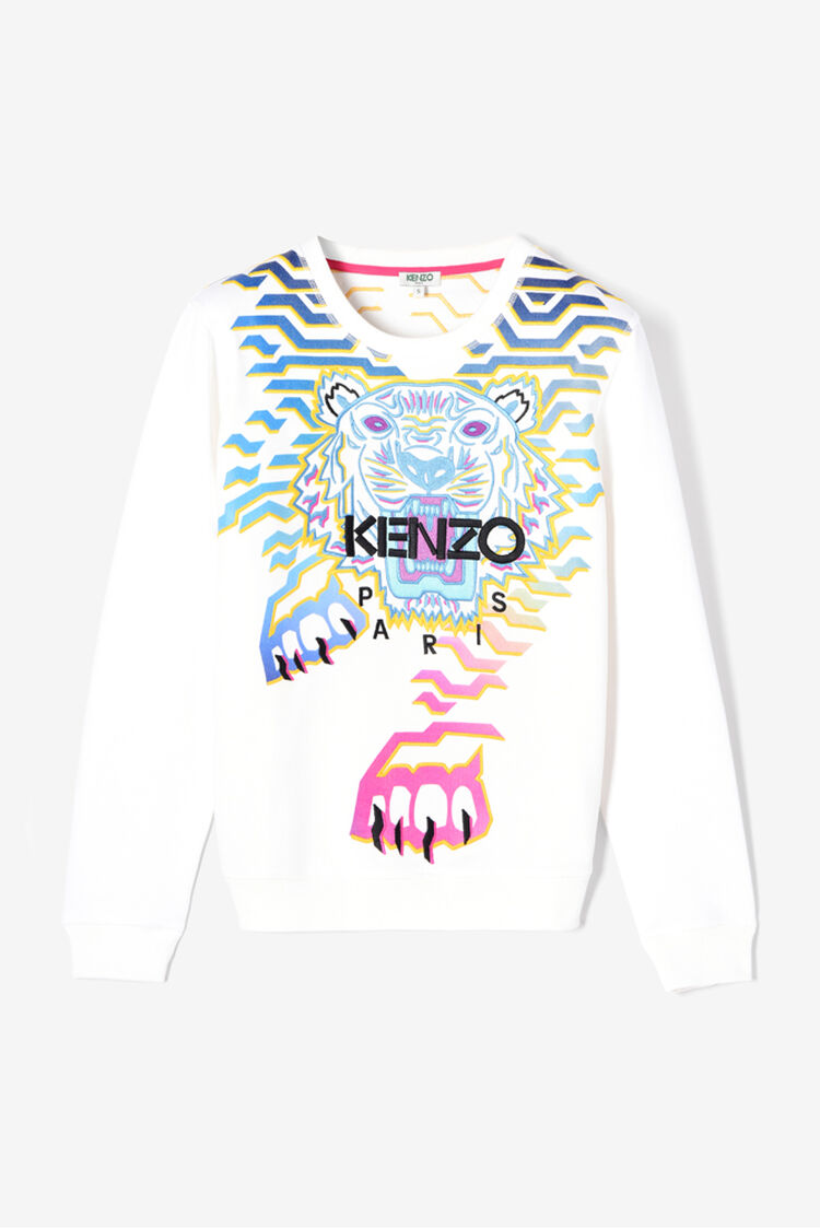 WHITE 'Geo Tiger X Rainbow' Sweatshirt for women KENZO