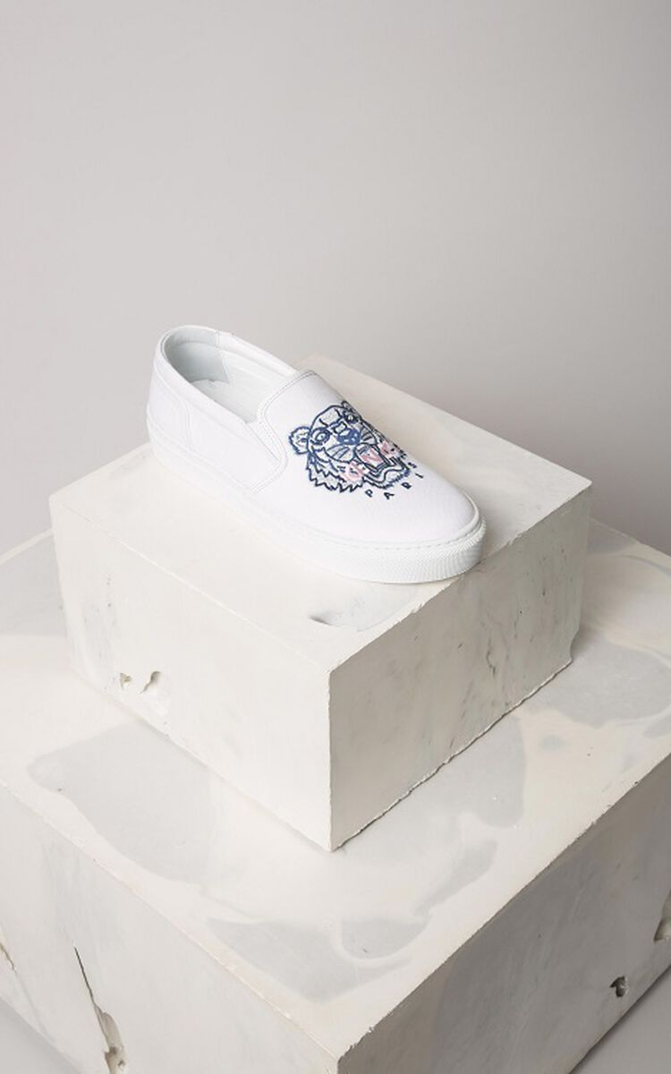 WHITE Tiger slip-on for unisex KENZO