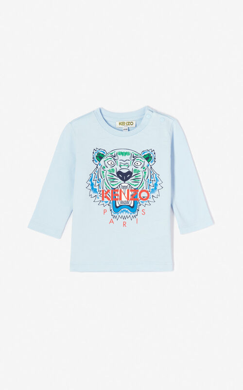 37fe5211ce3d9 LIGHT BLUE Tiger t-shirt for men KENZO ...