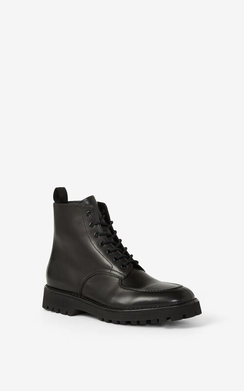 BLACK K-MOUNT laced leather ankle boots for men KENZO