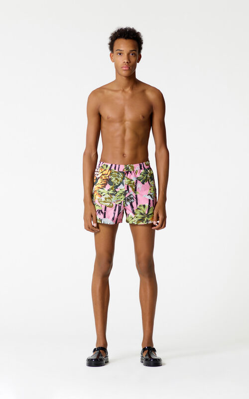 FLAMINGO PINK 'Bamboo Tiger' swim shorts for women KENZO