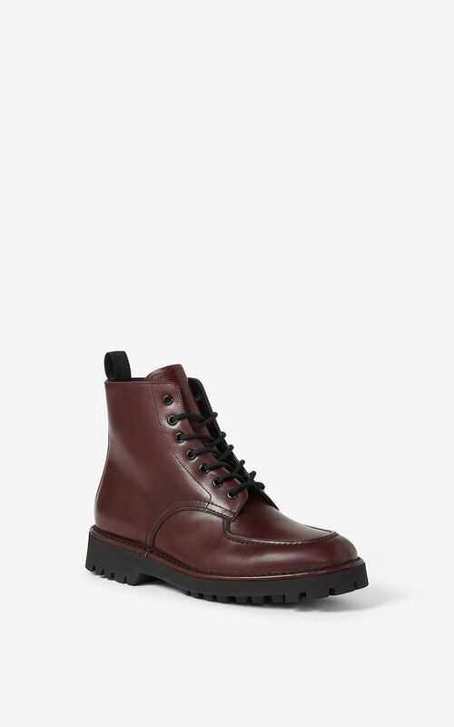 BORDEAUX K-MOUNT laced leather ankle boots  for men KENZO