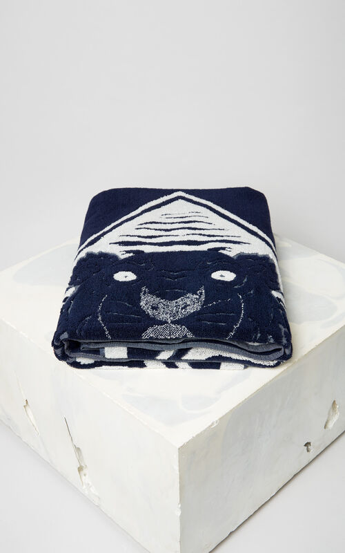 NAVY BLUE 'Diamond Tiger' beach towel KENZO