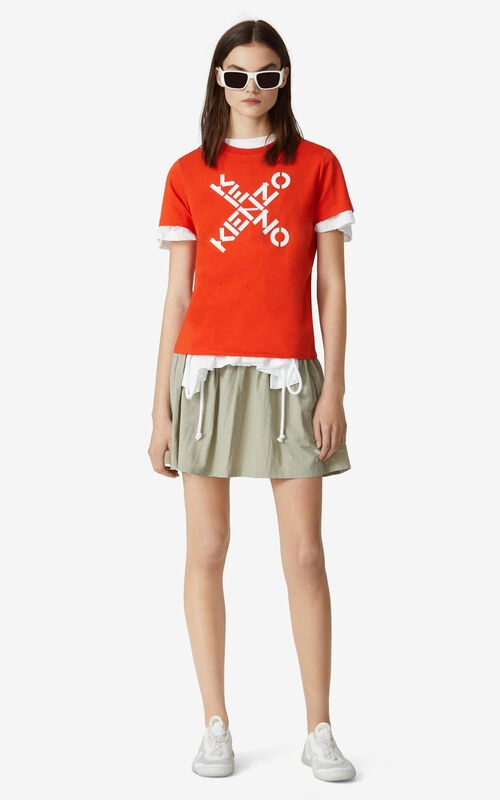 DEEP ORANGE KENZO Sport 'Big X' T-shirt for women