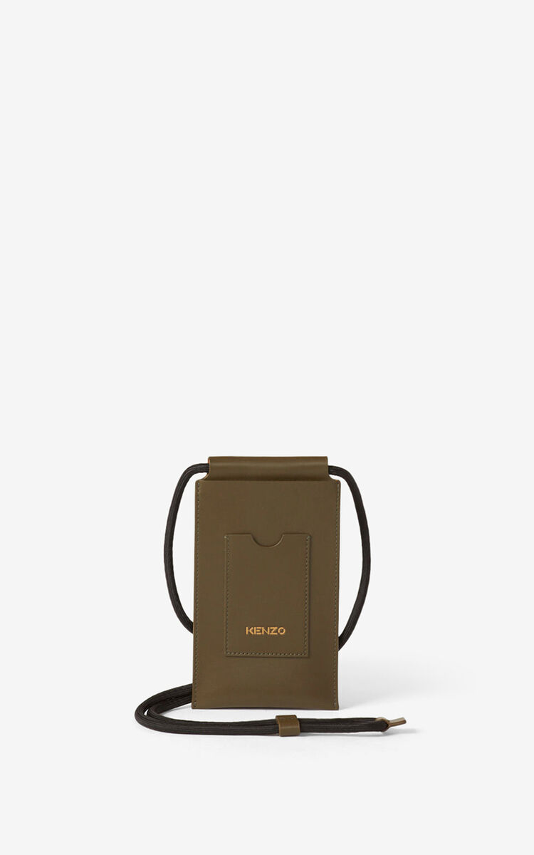 KHAKI KENZO Cadet crossbody leather phone holder  for men