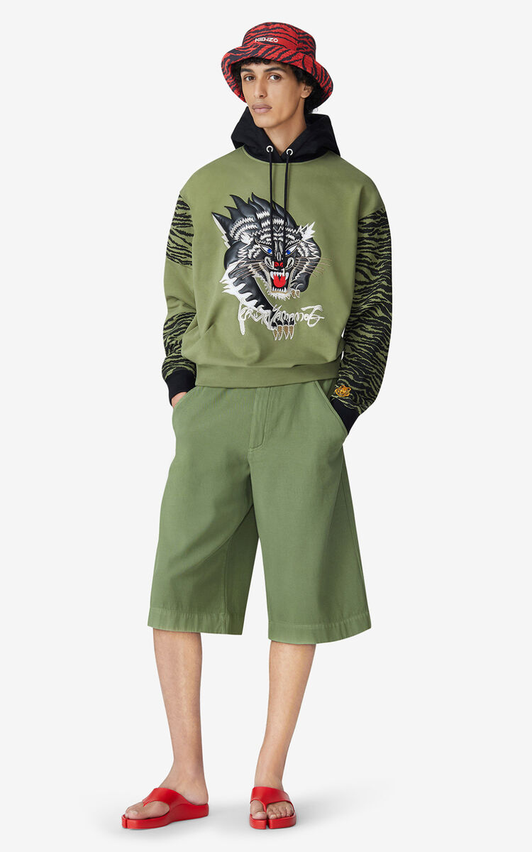 OLIVE KENZO x KANSAIYAMAMOTO 'Black Panther' hooded sweatshirt for men