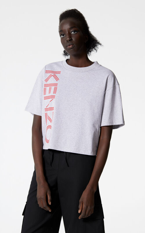 PALE GREY Boxy KENZO Logo t-shirt for women