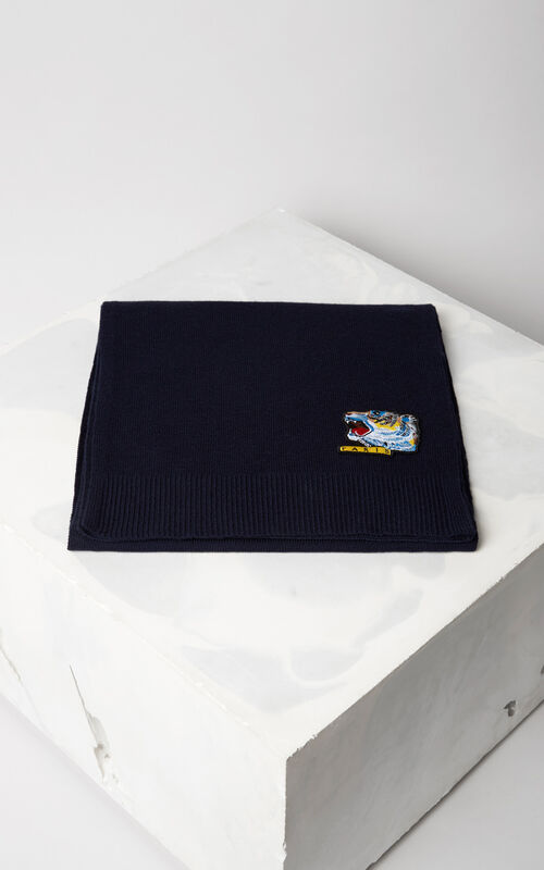 NAVY BLUE 'Tiger Face' scarf for women KENZO