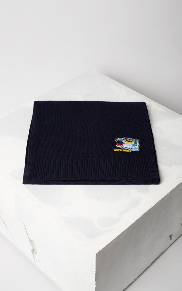 NAVY BLUE 'Tiger Face' scarf for unisex KENZO