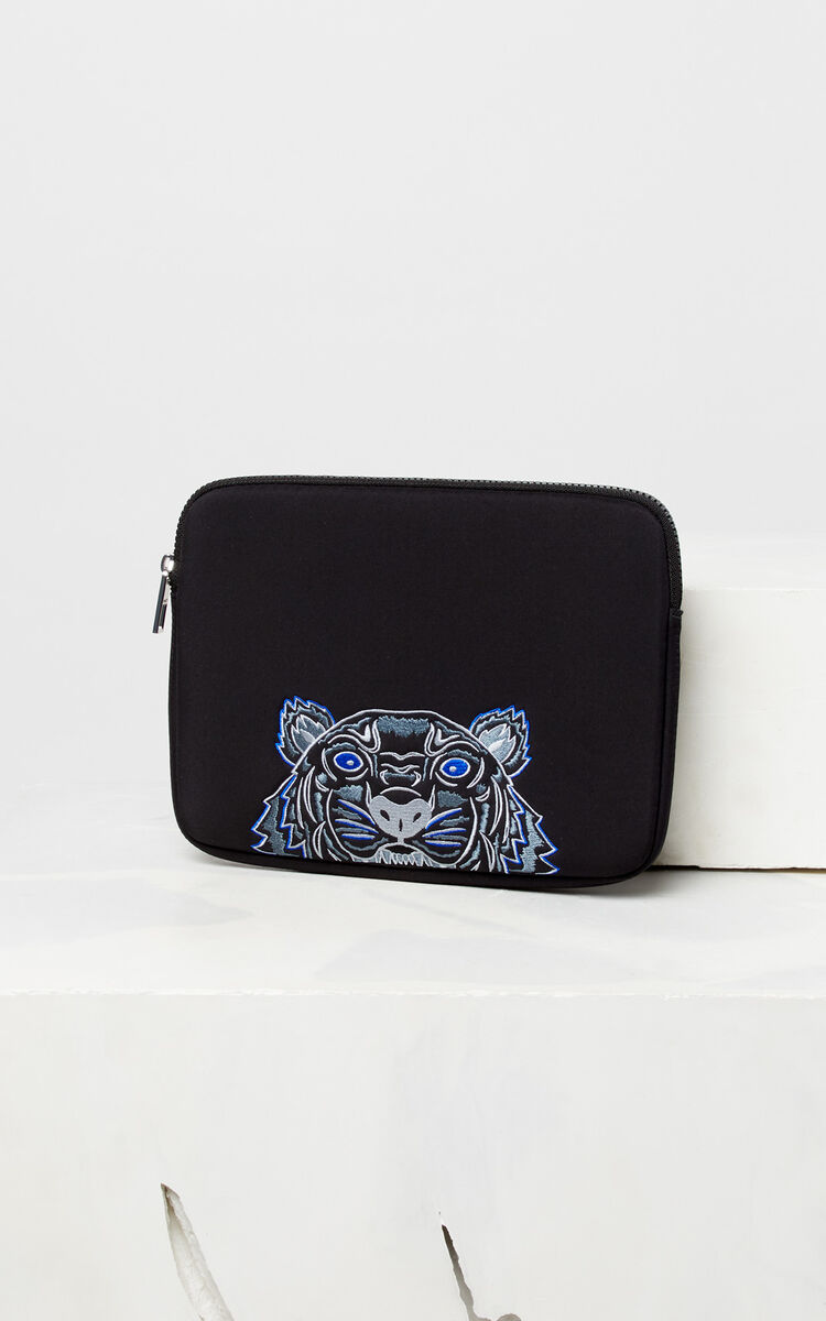 BLACK Tiger tablet pouch for unisex KENZO