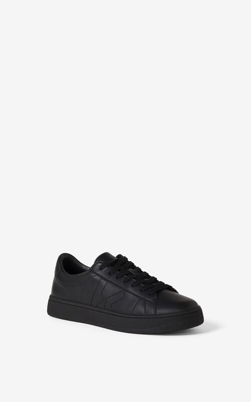 BLACK KENZO Kourt K Logo leather sneakers    for unisex