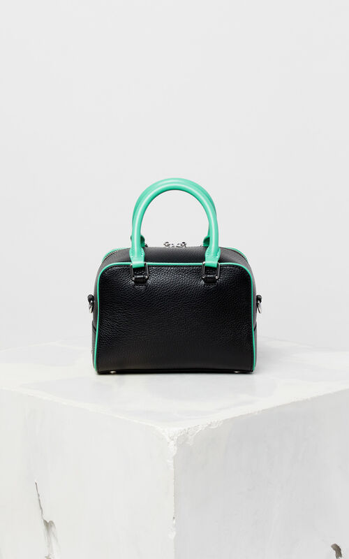 Black Small Leather Bowling Bag For Uni Kenzo