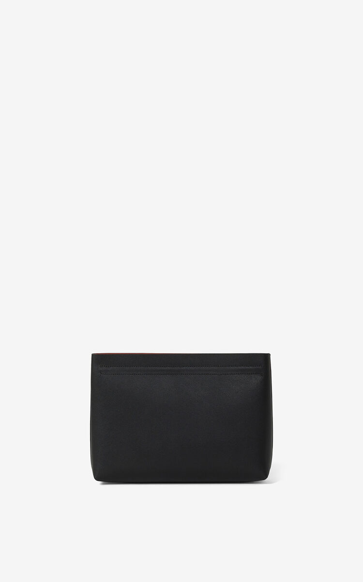 BLACK KENZO Cadet gusseted leather clutch  for men