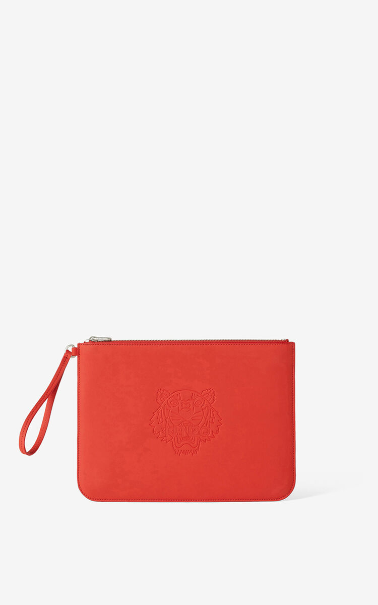 MEDIUM RED Preppy Tiger large clutch for unisex KENZO