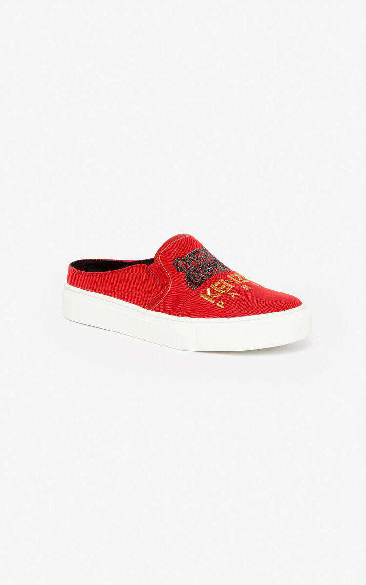 MEDIUM RED K-Skate Tiger slip-on mules for unisex KENZO