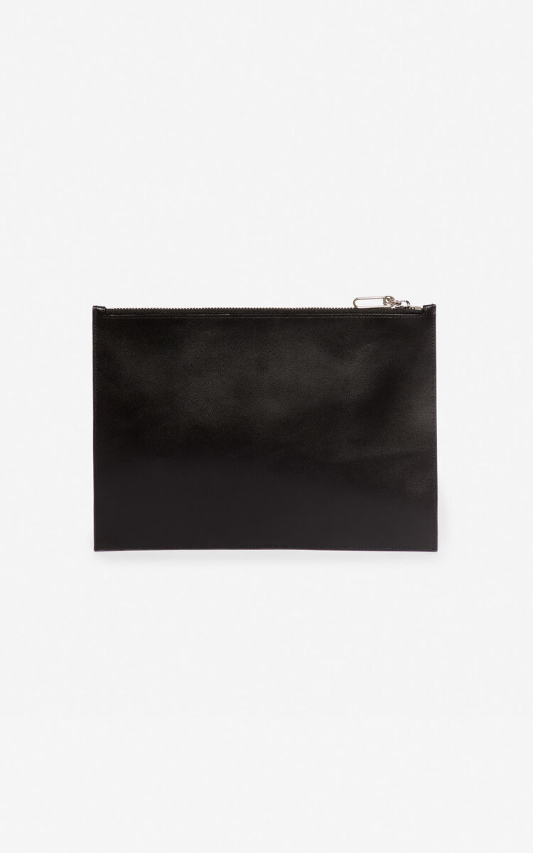BLACK A4 'Square Logo' leather clutch for women KENZO
