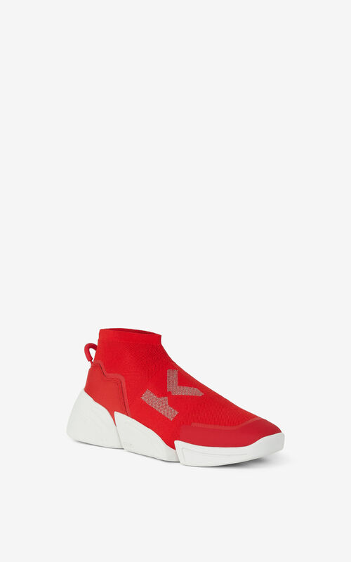 MEDIUM RED K-SOCK 'K Logo' lace-free sneakers for unisex KENZO