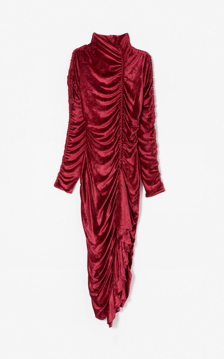 PEONY RED 24 Frilled velvet dress for women KENZO